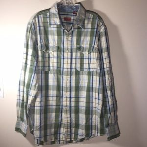 Izod Luxury Sport Plaid Button Shirt LongSleeve M